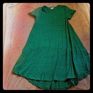 LulaRoe Green T Shirt Dress with Pocket